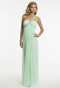 Mesh empire waist dress with rainbow beaded one shoulder band.