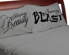 sleeping Beauty SNORING Beast Funny Pases Couples Pillowcases For Him Her Boyfriend Girlfriend Husband Wife His Hers Beauty and Beast Funny