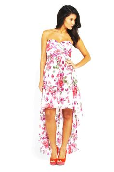 Strapless Floral Chiffon High Low Dress