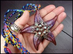 Clay and Gemstone Pendant - Star of the Sea by andromeda.deviantart.com on @DeviantArt