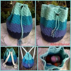 Crochet Backpack w/ Blue Gradation ^^ 100% handmade by @Norika Dewi :)
