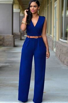 Dark Blue V Neck Wide Leg Sexy Jumpsuit #Dark #Jumpsuit #maykool