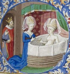 Horae ad usum Parisiensem. Date d'édition 1401-1500 The scene is biblical (David & Bathsheba) but all the details are 15th Century.