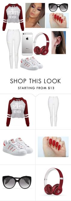 """""""Red Inspired"""" by jaden-norman ❤ liked on Polyvore featuring Topshop, adidas Originals, Alexander McQueen and Beats by Dr. Dre"""
