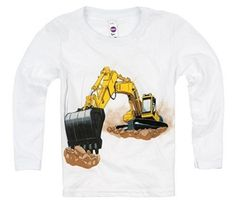 Shirts That Go Little Boys' Long Sleeve Yellow Excavator T-Shirt. This yellow construction truck is a perfect addition to a birthday celebration. Kids fashion, boy style and great for kids who love construction and trust.