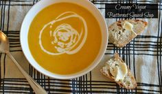 It's the season of squash. Don't let this vitamin packed vegetable go to waste when you can create a warm and creamy soup that's good for you body and soul. Vegan Recipes Easy, My Recipes, Vegetarian Recipes, Cooking Recipes, Favorite Recipes, Vegan Butternut Squash Soup, Vegan Foods, Healthy Mind, Soups And Stews
