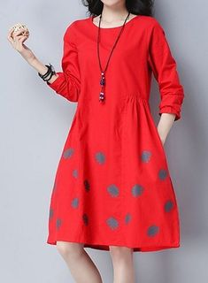 New Women loose fit plus size pocket dress polka dots tunic long sleeve fashion #unbranded #dress #Casual