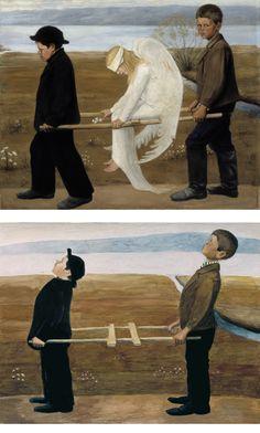 Hugo Simberg / The Wounded Angel, 1903.   Pekka Vuori / Greetings to Hugo Simberg, 1980's.