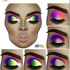 Makeup Eye Looks, Eye Makeup Steps, Eye Makeup Art, Eyebrow Makeup, Eyeshadow Makeup, Eyeshadows, Creative Eye Makeup, Colorful Eye Makeup, Makeup Face Charts