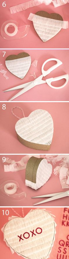 DIY Mini Conversation Heart Piñata ..Put hanger in top of box. Fill box with candy.  Use scissors to cut about a foot of streamer into fringe. attach to box side using double-sided tape so you paper over the top and bottom (so the only way to get inside the pinata is to break it open). Make sure to start from the bottom and work your way up. You can leave the back plain, cover it with fringe, or cut a piece of colored paper to fit and glue it on.  Create a saying using sticker letters.