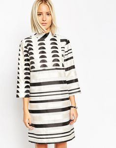 Image 1 of ASOS WHITE Funnel Neck Shift Dress in Mixed Organza