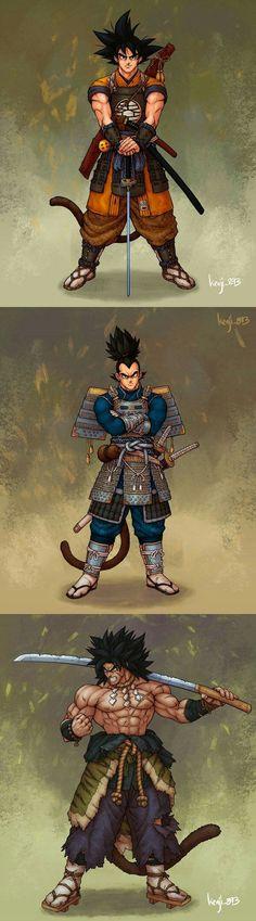 Samurai Goku,Vegeta and Broly - anime Dragonball Evolution, Dragon Ball Image, Dragon Ball Gt, Goku Wallpaper, Samurai Art, Character Art, Games, Comics, Comics And Cartoons