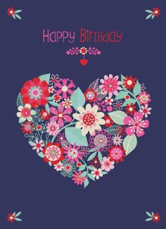 Jane Ryder-gray - Modern Floral Birthday Heart