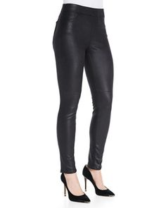 Leather-Like Ponte Skinny Jeans by JEN7 at Neiman Marcus.
