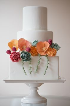 Poppies, succulents, and raspberries by Erica OBrien Cake Design. Photo by Brooke Allison.