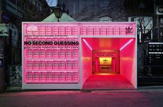 urbantainer's neon-clad media room showcases the evolution of adidas' iconic EQT Retail Store Design, Retail Shop, Retail Displays, Shop Displays, Window Displays, Display Design, Booth Design, Visual Merchandising, Tienda Pop-up