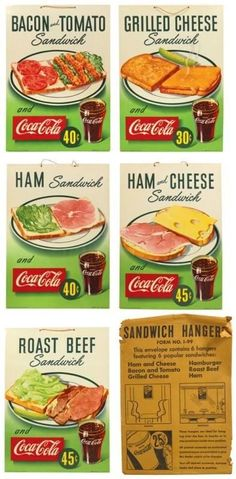 """""""The slogan I remember is (Things go better with ) Coca-Cola & sandwiches signs Coca Cola Vintage, Coca Cola Ad, Vintage Menu, Vintage Ads, Vintage Signs, Pepsi, Old Advertisements, Retro Advertising, Retro Ads"""