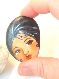 Painted stone. painting on stone. Beach pebbles art by sabiesabi, $25.00