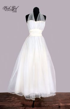 Vintage white halter wedding dress
