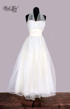 Vintage white halter wedding dress