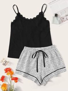 To find out about the Lace Trim Cami Top With Heart Shorts PJ Set at SHEIN, part of our latest Pajama Sets ready to shop online today! Girls Fashion Clothes, Teen Fashion Outfits, Look Fashion, Girl Outfits, Curvy Fashion, Street Fashion, Fall Fashion, Fashion Trends, Cute Sleepwear