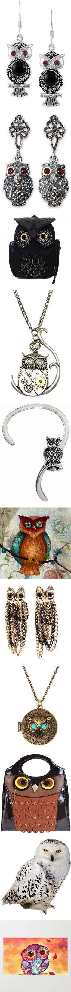 Owls by pampire on Polyvore featuring jewelry, earrings, bling, multi, sterling silver owl earrings, marcasite earrings, cocktail jewelry, sterling silver jewellery, owl jewelry and dangle