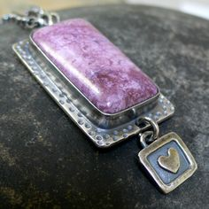 Sterling Silver and Purple Jade Necklace