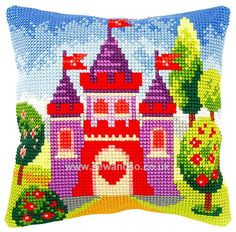 Buy Princesses Castle Cushion Front Chunky Cross Stitch Kit Online at www.sewandso.co.uk