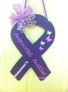 Awareness Ribbon, Cancer, Alzheimers, Autism,  Troops,  Metal, 14 inches, door decor, garden flag. $28.00, via Etsy.