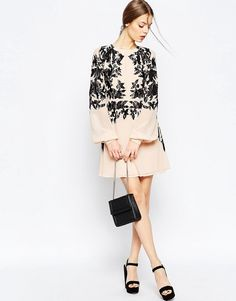 Image 4 ofASOS Lace Placed Embroidered Mini Dress