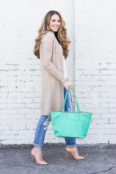 GiGi New York | Island Green Teddie Tote | The Teacher Diva Fashion Blog