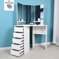 Shop Victoria - Corner Makeup Table with Mirror and Integrated Storage - Overstock - 27871639 Makeup Table With Mirror, Corner Makeup Vanity, Makeup Table Vanity, Dressing Table Mirror, Dresser With Mirror, Vanity Ideas, Corner Vanity Table, Makeup Desk, Mirror Vanity