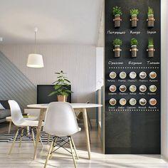 Idée: peinture à tableau, pots de fleurs aromatiques fixés au mur