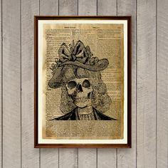 Skull illustration Dictionary print Anatomy decor Skeleton poster WA901