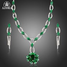 AZORA GREEN CUBIC ZIRCONIA FLOWER PENDANT NECKLACE AND DROP EARRINGS