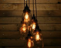 5 Jar Pendant Light - Mason Jar Chandelier Light - Hanging Mason Jar Hanging Pendant Light - Clear Quarts