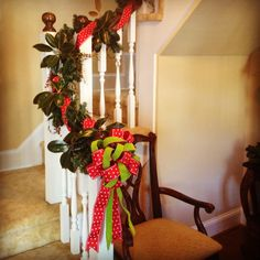 Garland lining the staircase is a festive touch and requires very little application