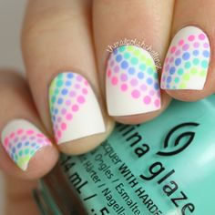 White and Rainbow Polka Dot Nails