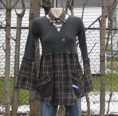 Upcycled Babydoll Tunic, Upcycled Clothing, Recycled Sweaters, Size XS. $39.00, via Etsy.