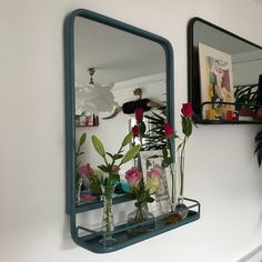 This Blue Metal Framed Portrait Carriage Mirror works beautifully in the kitchen for displaying bottles of oils or equally as well as a bathroom mirror and shelf for holding your toiletries