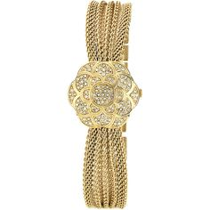 Anne Klein Ladies' Gold Flower Covered Dial Watch ($95) ❤ liked on Polyvore