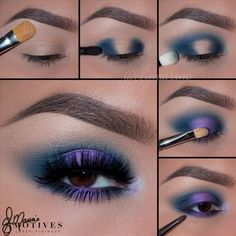 Gorgeous Makeup: Tips and Tricks With Eye Makeup and Eyeshadow – Makeup Design Ideas Purple Eyeshadow, Blue Eye Makeup, Smokey Eye Makeup, Eyeshadow Looks, Eyeshadow Makeup, Hair Makeup, Beauty Makeup, Eyeshadows, Eyeshadow Steps