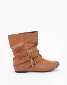 Double Strap Ankle Boots in Camel