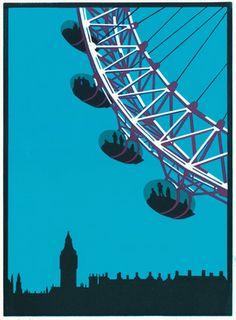 London Eye- By Paul Catherall - Linocut print