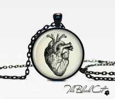 Vintage anatomical heart pendant anatomical heart necklace anatomical heart jewelry for men. $12.95, via Etsy.