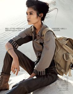 Ming Xi Hits the Desert for Vogue China September 2012 by Benny Horne ---- modern, adventurous, thoughtful, model, young, Asian, black-haired, brown-eyed  ----- traveler, backpack