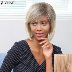 64.47$  Buy now - http://dijmq.justgood.pw/go.php?t=207076404 - Siv Hair Shaggy Short Side Bang Straight Bob Human Hair Wig
