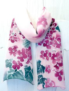Hand Painted Silk Scarf Pink Silk Scarf by SilkScarvesTakuyo, $80.00
