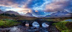 The Sligachan Bridge crossing the river Sligachan on the Isle of Skye, Scotland.