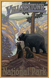 Yellowstone National Park travel poster. I saw a grizzly with cubs when I went. So exciting!